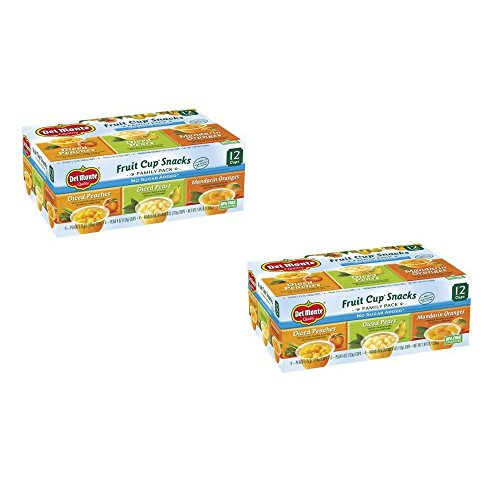 Del Monte No Sugar Added Variety Fruit Cups 12 ct 2 Box 12 Cou...