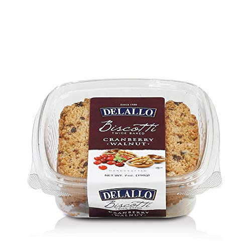DeLallo Walnut Biscotti, Cranberry, 7 Ounce Pack of 4