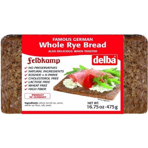 Delba Famous German Whole Rye Bread, 16.75 Ounce Pack of 12