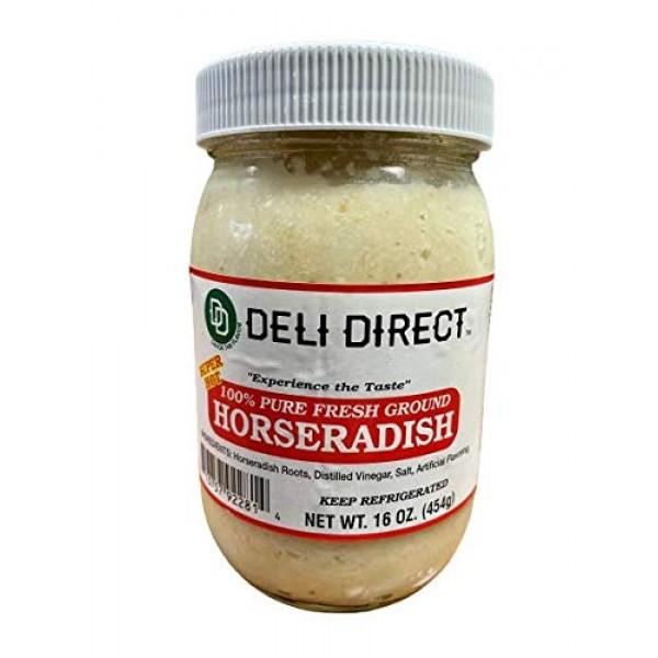 Deli Direct Extra Hot 100% Pure Fresh Ground Horseradish, 16 oz,...