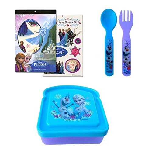 Disney Frozen Bread Sandwich Container Combo with Forks and Temp...