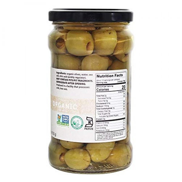 Divina Organic Pitted Green Olives, 10.2 Ounce
