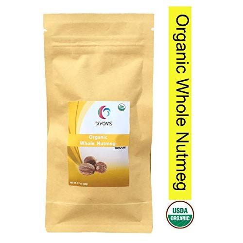 Organic Whole Nutmeg 1.7 oz, Premium grade stand up resealable...