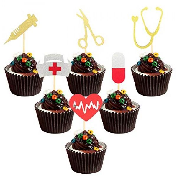 36PCS Nursing Cupcake Topper Nurse Graduation Cupcake Toppers fo...