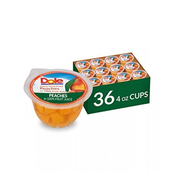 DOLE FRUIT BOWLS Diced Peaches in 100% Fruit Juice, 4 Ounce 36 ...
