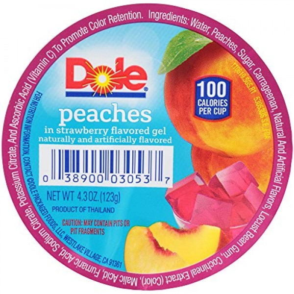 Dole Fruit Bowls, Peaches in Strawberry Flavored Gel, 4.3oz, 36 ...