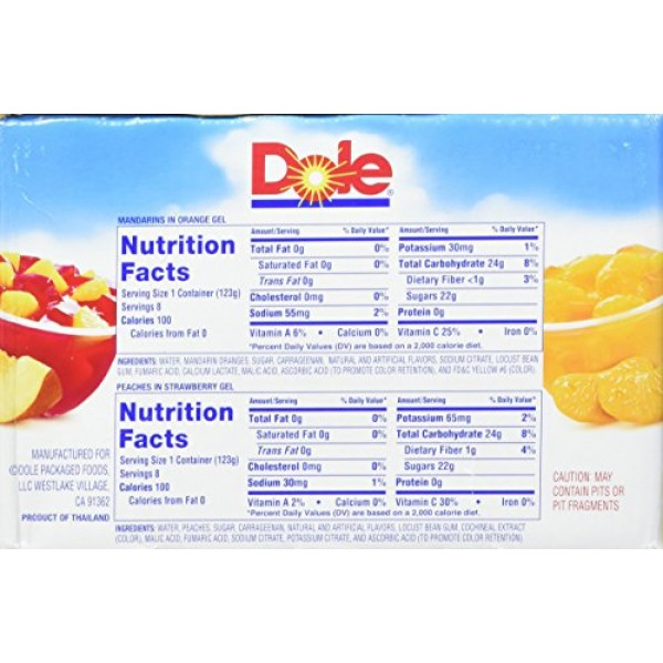 Dole Gel Fruit Bowl Mixed in Peaches and Mandarins, 68.8 Ounce