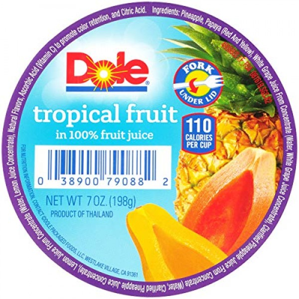 Dole Tropical Fruit In 100% Fruit Juices, 7-Ounce Containers Pa...