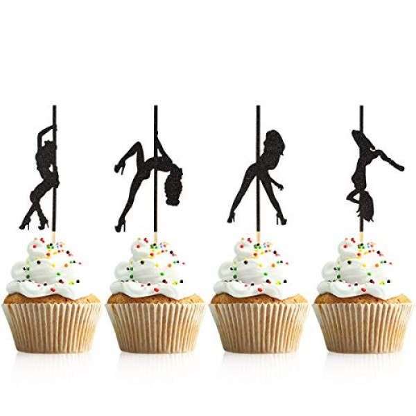 Donoter 48 Pcs Pole Dancing Cupcake Toppers Pole Dancers Cake Pi...