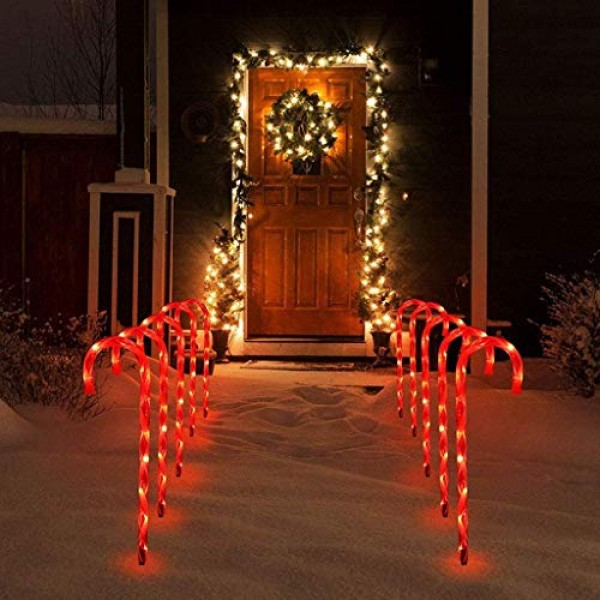 Dosoop Candy Cane Lights,Christmas Candy Cane LED Yard Lawn Path...