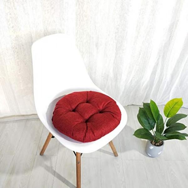 Dosoop Solid Color Round Cotton Floor Cushion, Cotton Linen Brea...