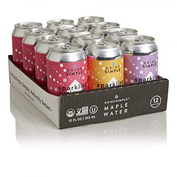 Drink Simple Organic Sparkling Maple Water Variety Pack, 12oz Ca...