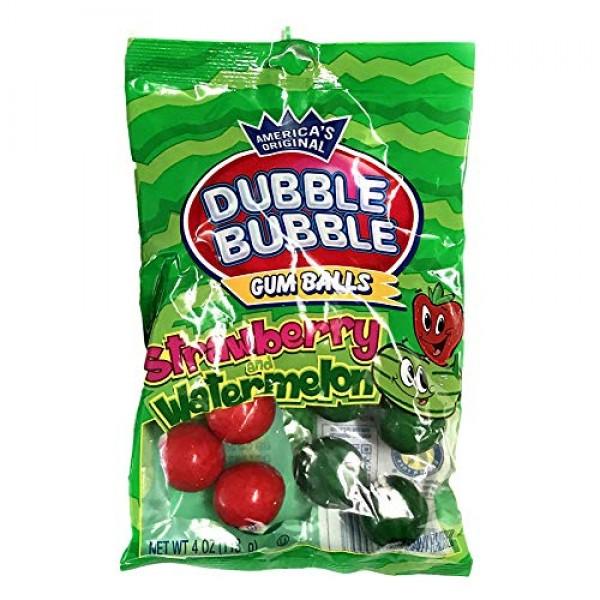 Dubble Bubble 1 Bag Strawberry and Watermelon Flavored Gum Bal...