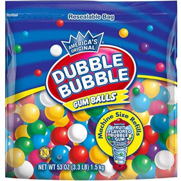 Dubble Bubble Gum Balls Machine Size Gum Ball Refills, 3.3 Lbs, ...