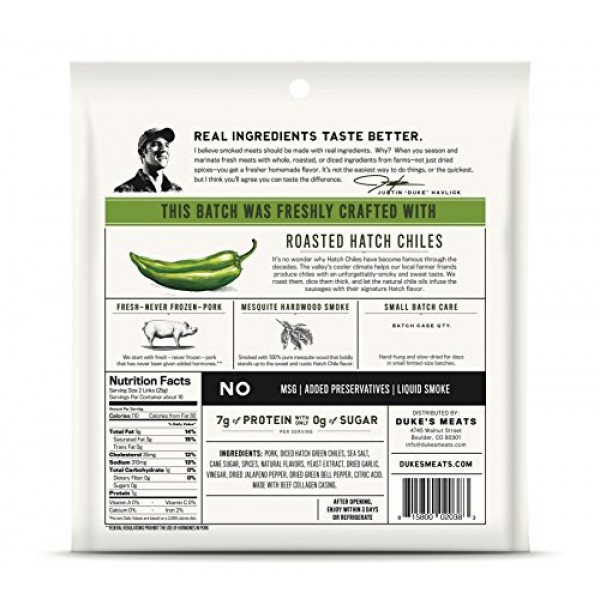 Dukes Hatch Green Chile Pork Sausages, 16 Ounce