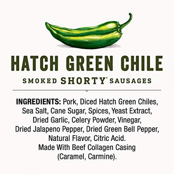 Dukes Hatch Green Chile Smoked Shorty Sausages, 1.25 oz. 12-Count