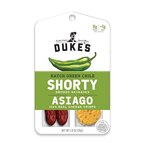 Dukes Shorty Smoked Sausages & Cheese Crisps, Hatch Green Chile...