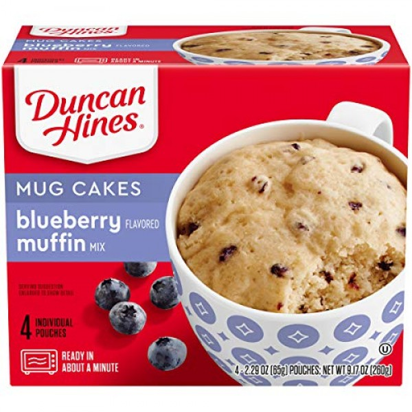 Duncan Hines Mug Cakes Blueberry Flavored Muffin Mix, 4 - 2.29 O...