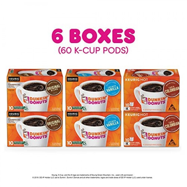 Dunkin Donuts Best Sellers Coffee Variety Pack, 60 K Cups for K...