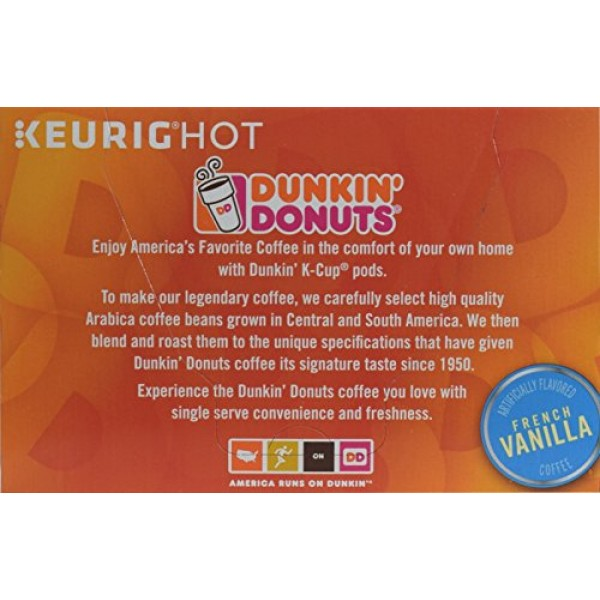 Dunkin Donuts French Vanilla Coffee Single Serve K-Cups, 24 Count