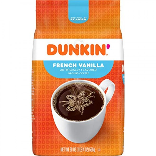 Dunkin French Vanilla Flavored Ground Coffee, 20 Ounces Pack o...
