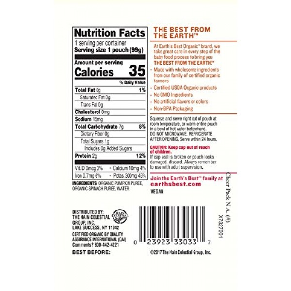 Earths Best Organic Stage 2 Baby Food, Pumpkin and Spinach, 3.5...