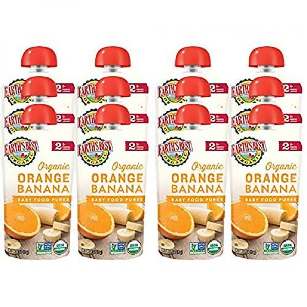 Earths Best Organic Baby Food Puree Pouch, Orange & Banana, Sta...