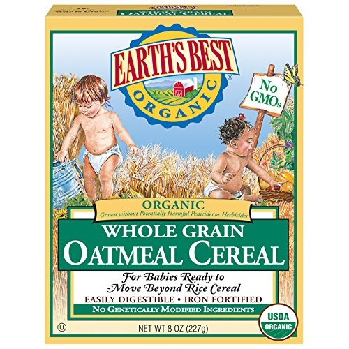 Earths Best Organic Whole Grain Oatmeal Cereal, 8 Ounce