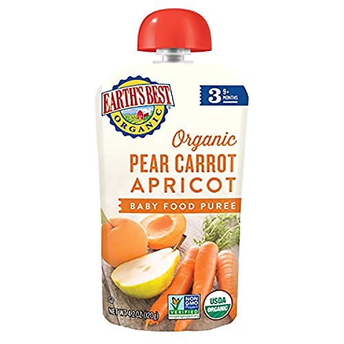 Earths Best Organic Stage 3 Baby Food, Pear Carrot Apricot, 4.2...
