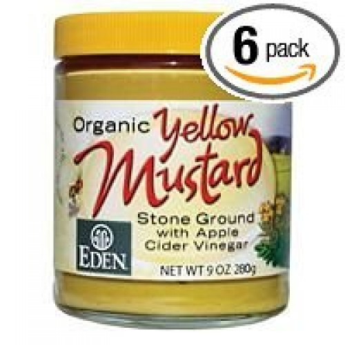 Eden Foods Mustard, Og, Yellow, Glass, 9-Ounce Pack of 6