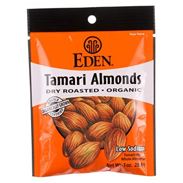 Eden Foods Organic Dry Roasted Tamari Almonds, 1 Ounce - 12 per ...