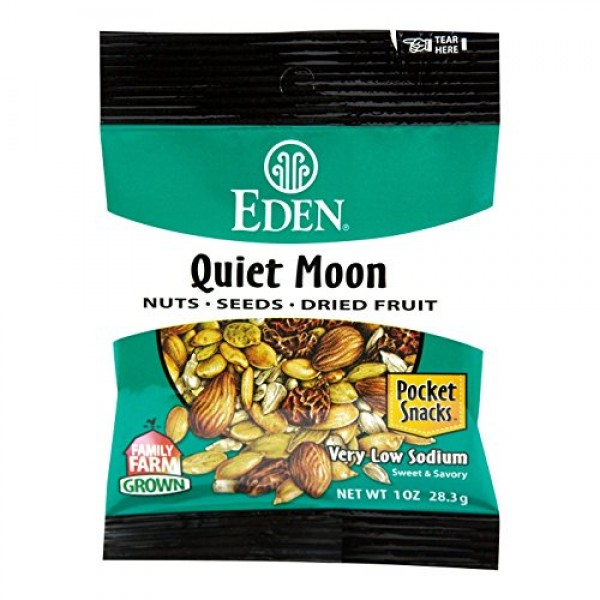 Eden Quiet Moon Nuts, Seeds and Dried Fruit, 1 Ounce Pack of 12