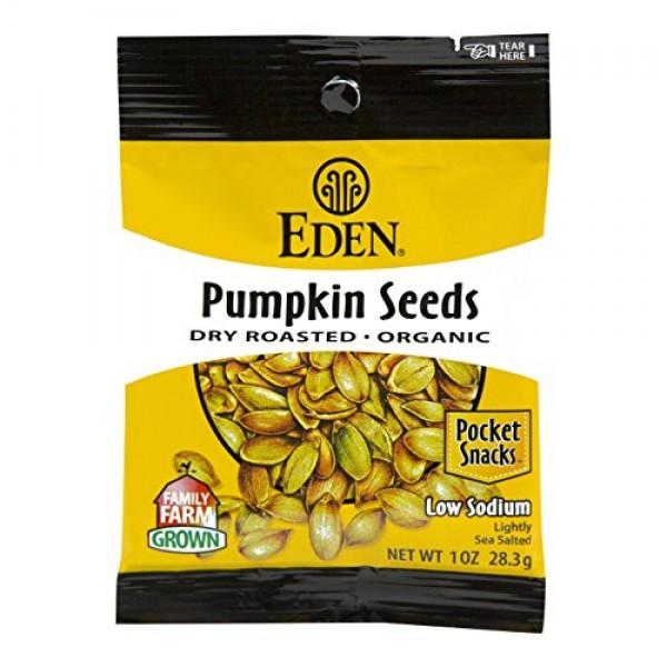Eden Organic Pumpkin Seeds, Dry Roasted and Salted, Pocket Snack...