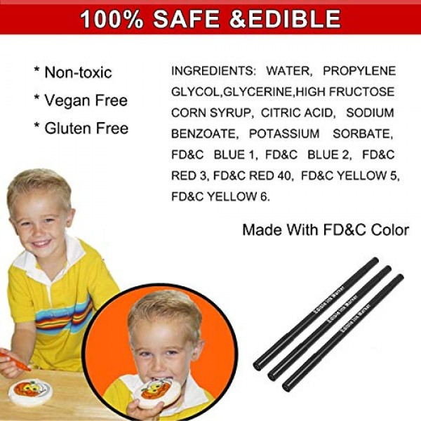 3pcs Black Food Coloring Markers, Double Sided with Ultra Fine T...