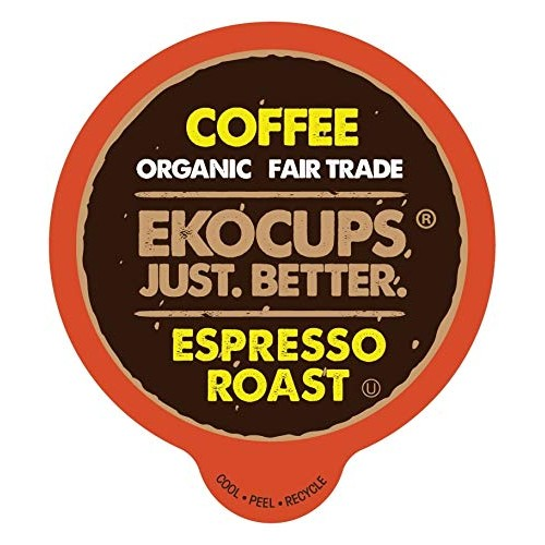 EKOCUPS Artisan Organic Espresso Roast Hot or Iced Coffee, in Re...