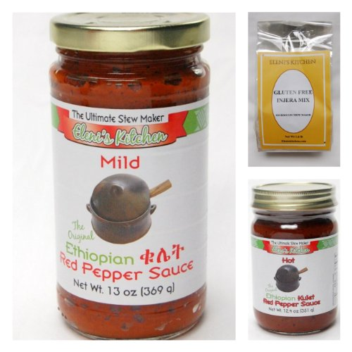 Elenis Ethiopian Gluten Free Sampler Pack - 2 Jars Sauce, 1 Inj...