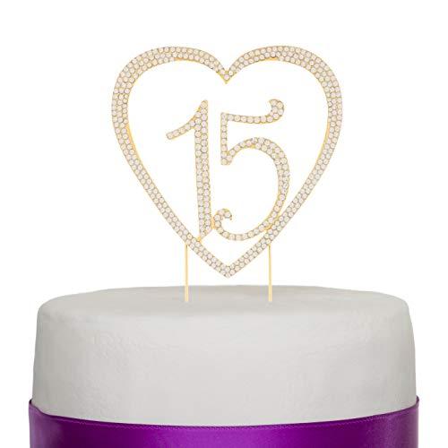 Ella Celebration 15 Heart Cake Topper, Gold 15th Birthday Party ...