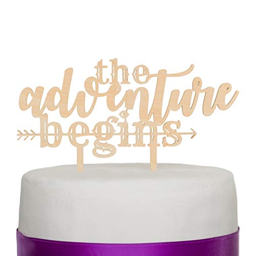 Ella Celebration The Adventure Begins Wooden Wedding Cake Topper...