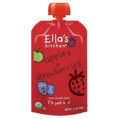 Ellas Kitchen Organic 6+ Months Baby Food, Apples and Strawberr...