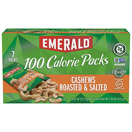 Emerald Nuts, Cashews Roasted and Salted 100 Calorie Packs, 7 Co...