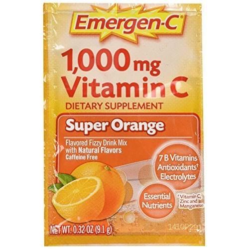Emergen-C Vitamin C Flavored Fizzy Drink Mix Packets, Super Oran...