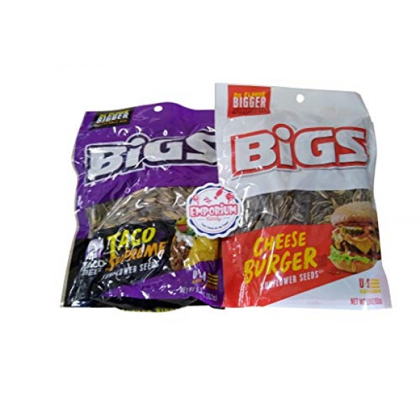 Bigs Taco Bell & NEW Cheeseburger Sunflower Seeds - One of Each...