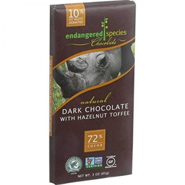 Endangered Species Chocolate Rhino Hazelnut Dark Chocolate Bar, ...