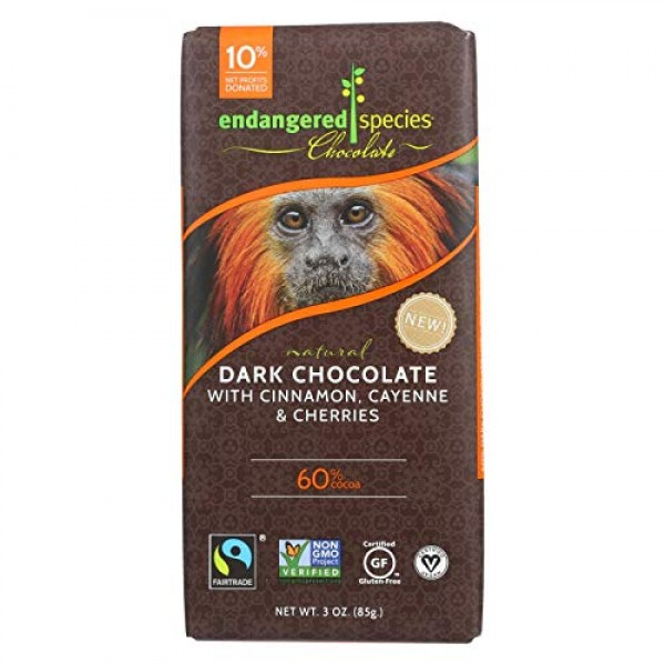 Endangered Species Natural Dark Chocolate Bar with Cinnamon Caye...