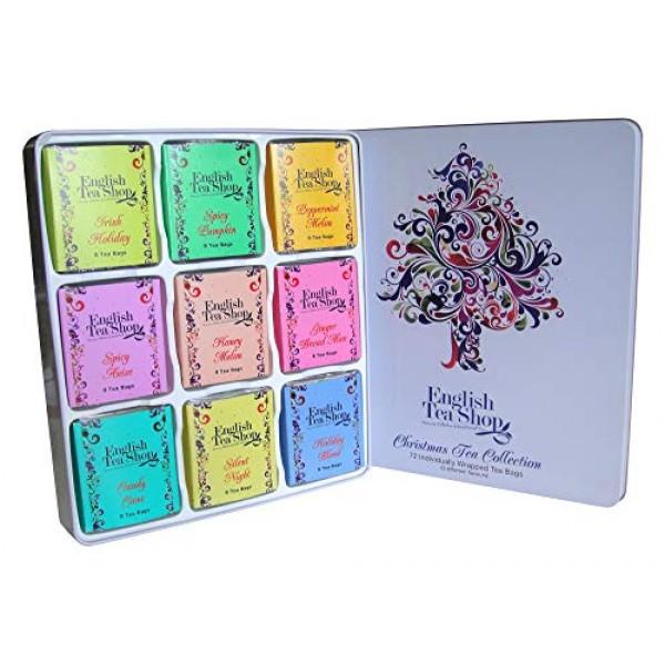 Organic Xmas Tree 72 sachets/9 Flavours Metal Tin