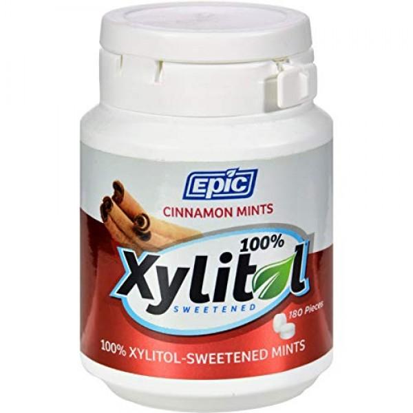 Epic Dental Mints - Cinnamon Xylitol Bottle - 180 ct - Gluten Fr...