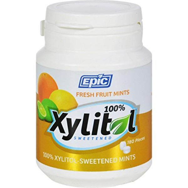 Epic Dental Mints - Fruit Xylitol Bottle - 180 Count - Gluten Fr...