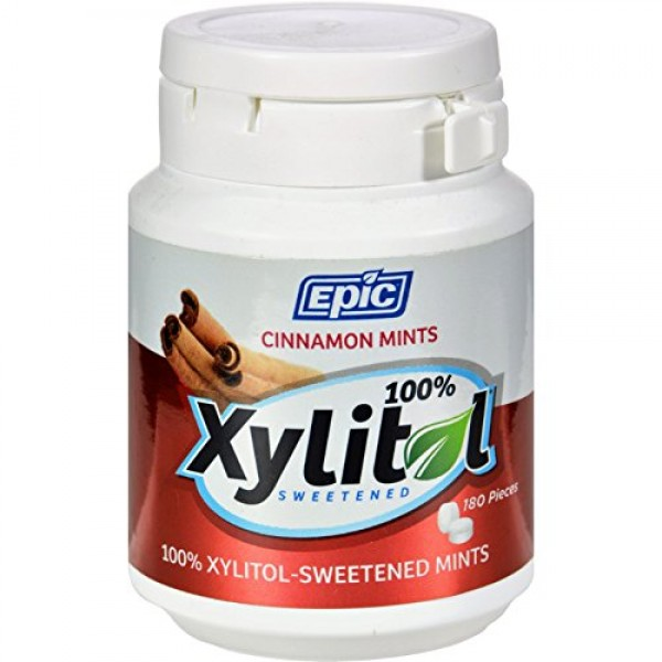 Epic Dental Mints - Cinnamon Xylitol Bottle - 180 ct Pack of 2