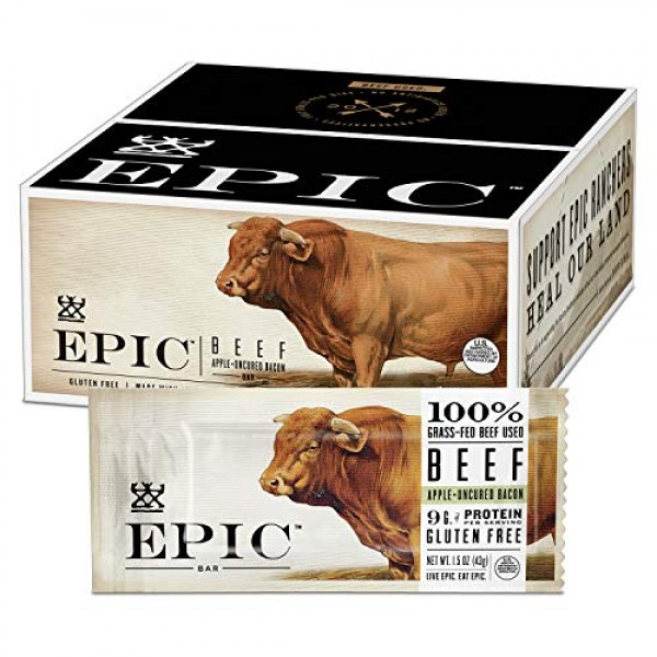 EPIC Beef Apple Bacon Bars, Grass-Fed, Whole30, 12 Count Box 1.5...