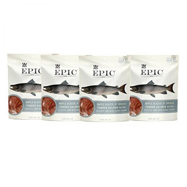Epic Jerky Bites, 100% Wild Caught, Maple Glazed & Smoked, Alask...